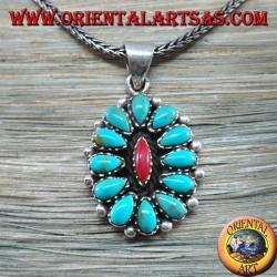Ciondolo in argento, a scudo con turchesi nativi e corallo (Indiani d'America )