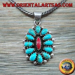 Silver pendant, shield with native turquoise and coral (American Indians)