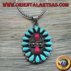 Colgante de plata, escudo con turquesa nativa y dos corales (indios americanos)