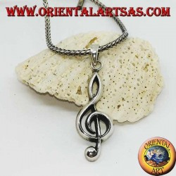 ciondolo in argento chiave di violino o chiave di sol grande