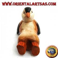 Pingouin en bois de suar coloré (petit)