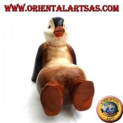 Pingüino en madera de suar de color (grande)
