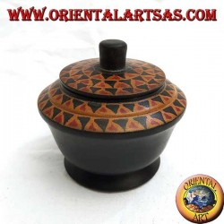 Handbemalte Schmuckschatulle aus Mahagoniholz von Lombok (schwarz, groß)
