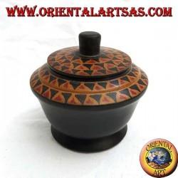Ломбок из красного дерева с ручной росписью шкатулка (черный, большой)