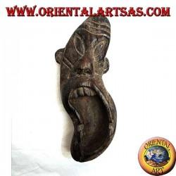 Posacenere a forma di maschera tribale in legno di Teak