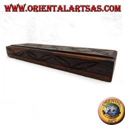Rectangular box with sliding opening in small ebony wood