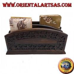 Portalettere a due tasche in legno di ebano (piccolo)