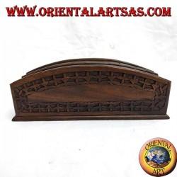 Portalettere a due tasche in legno di ebano (grande)