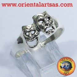 Anello maschere della tragedia in argento