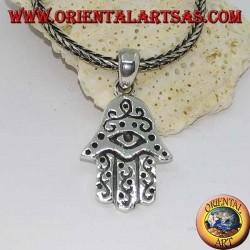 Ciondolo in argento mano di Fatima con occhio e decorazioni in bassorilievo