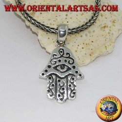 Silver pendant hand of Fatima with eye and bas-relief decorations