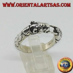 Silver ring with a panther (ouroboros)