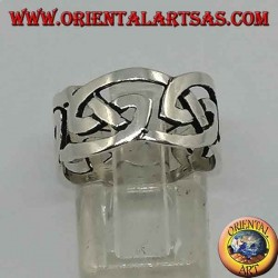 Perforated silver ring with Celtic knot