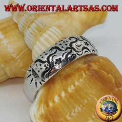 Silver ring with astral engravings