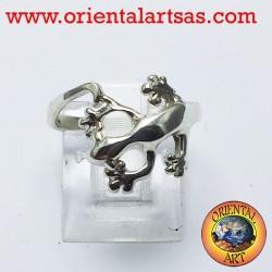 Gecko gecko anillo en plata