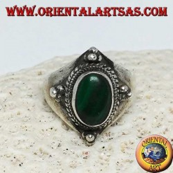 Silver ring with oval malachite and ball decorations