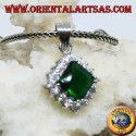 Silver pendant with square emerald colored Zircon surrounded by cubic zirconia