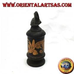 Цилиндрическая шкатулка для драгоценностей с цветочными гравюрами из бамбука и черепахи из красного дерева