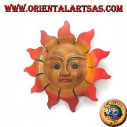 Soleil en bois de teck pour mur aux couleurs chaudes (moyen)