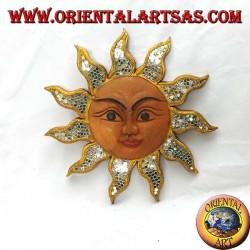 Sun with wall mirrors in suar wood (medium)