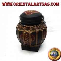 Традиционная тайская шкатулка с бамбуковым кружевом (сферическая, черная)