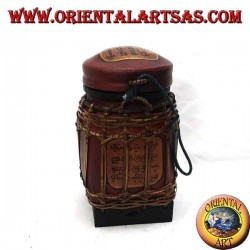 Traditional Thai box with bamboo lace (cylindrical, burgundy)