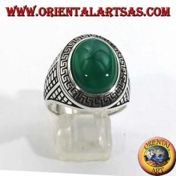 Silver ring with large oval green agate surrounded by a bas-relief grid