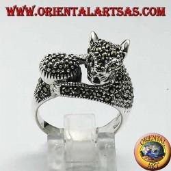 Silberring, Katze mit Markasitball