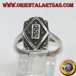 Anello in argento, rettangolo e rombo sovrapposti in marcasite