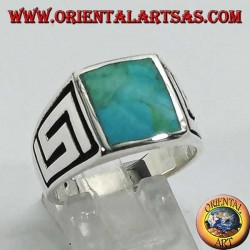 Silver ring with square natural turquoise and labyrinth on the sides