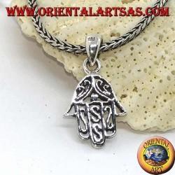 Pendentif en argent à la main de Fatima percé de décorations arabes