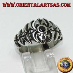 خاتم العمود الفقري الفضي مع الجزع المستدير
