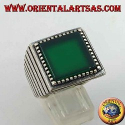 Silver ring with large square green agate, striped on the sides