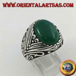 Silver ring with oval green agate cabochon with deep lateral engravings