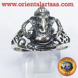 Anello Ganesh in argento con OM