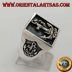 Silver ring with square seal and anchor