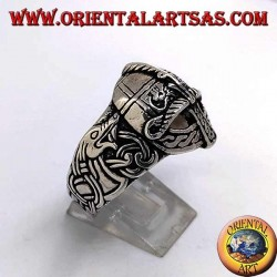 Silver ring in the shape of a helmet with Celtic engravings