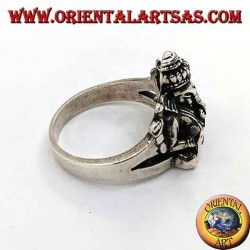 Silver ring with seated Ganesh and ruby on the head
