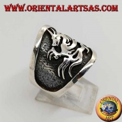 Wide band silver ring with dragon in high relief