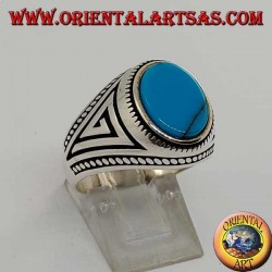 Silver ring with flat oval turquoise with braid at the edges of the ring