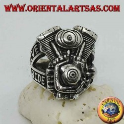 """Silver ring, Harley Davidson engine """"LIVE TO RIDE"""""""