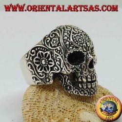 Anello in argento, teschio messicano