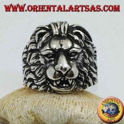 Silver ring the lion the king of the forest