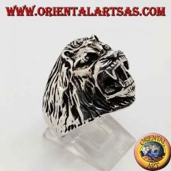 Anillo de plata, cabeza de león gruñendo