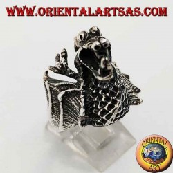 Серебряное кольцо в форме огнемета дракона