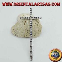 Pendentif en argent rhodié avec grande croix et zircons incrustés