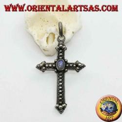Silver cross pendant with oval rainbow moonstone