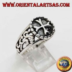 Silver ring with Greek cross in high relief and perforated decorations on the sides