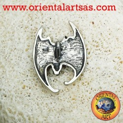 Bat pendant with head down silver