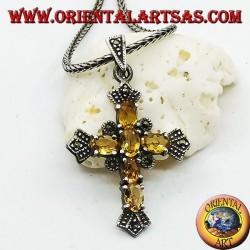 Серебряный крестик с шестью желтыми топазами и марказитами